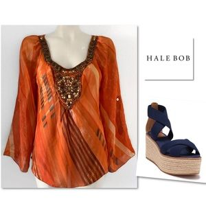 HALE BOB SILK JEWELED BEADED ORANGE BLOUSE SZ M